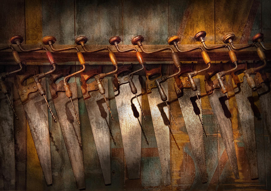 Hdr Photograph - Carpenter  - Saws And Braces  by Mike Savad