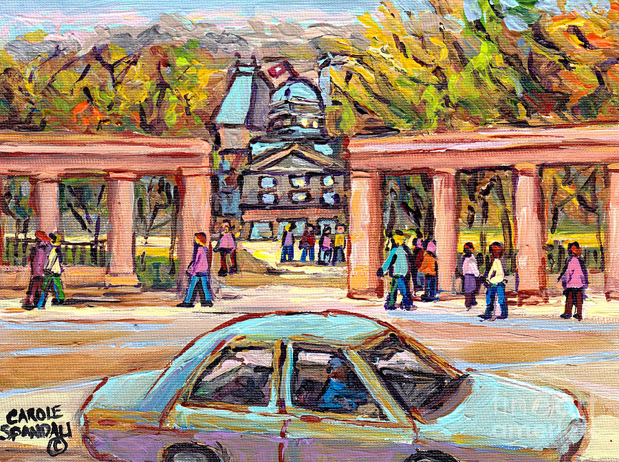 Carpool To School Mcgill University Roddick Gates Paintings For Sale Canadian Artist C Spandau Art