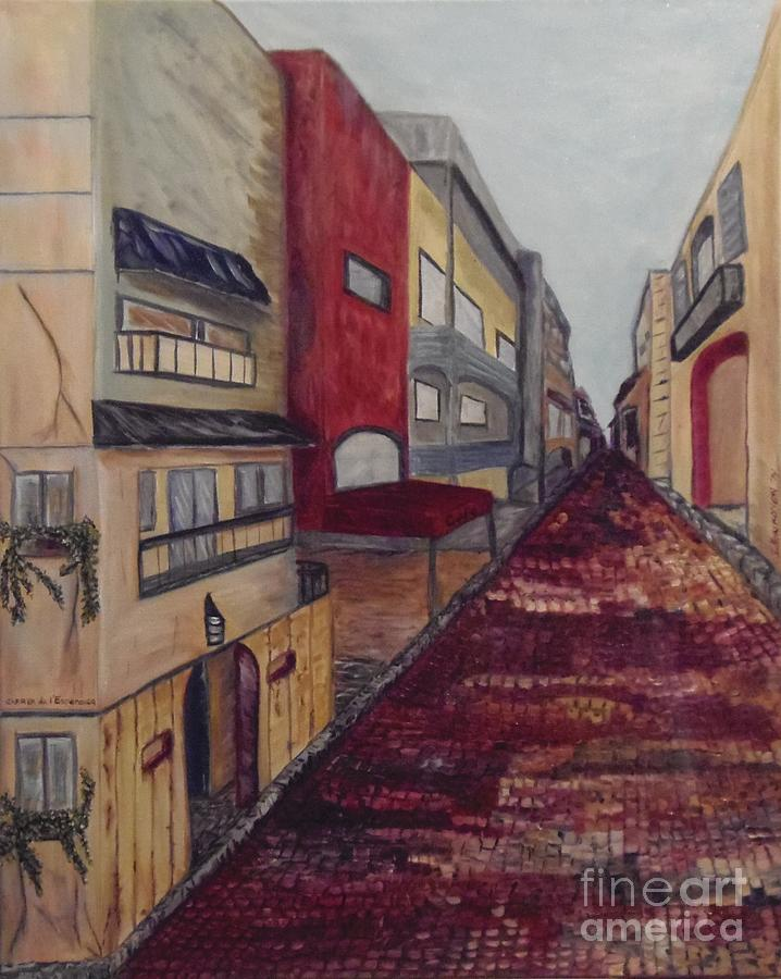 Landscape Painting - Carrer De Lesperanca by Isabel Honkonen