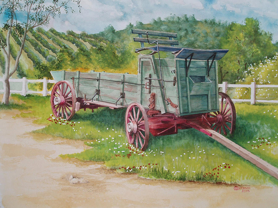 Farm Painting - Carriage  by Charles Hetenyi