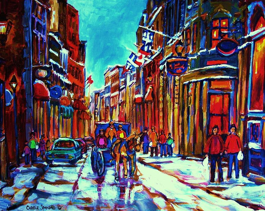 Old Montreal Painting - Carriage Ride Through The Old City by Carole Spandau