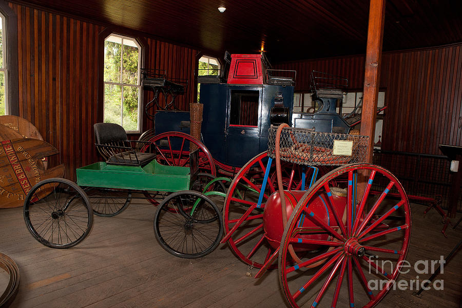Carriages Inside Coach Barn Los Angeles County Arboretum And Botanic Garden Photograph