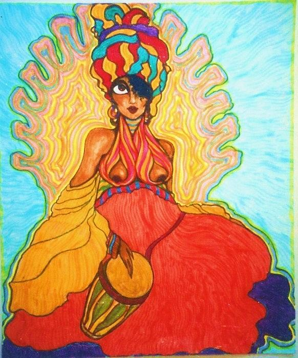 Drawing Drawing - Carribean Princess by Rae Chichilnitsky