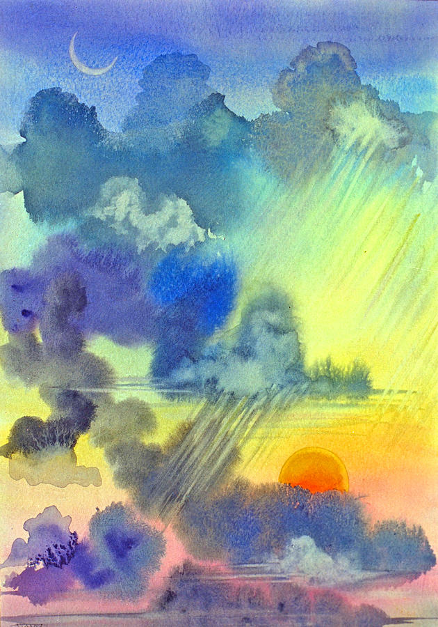 Sunset Crescent Moon Clouds Sky Rain Carribean Tropical Painting - Carribean Rain At Sunset by Jennifer Baird
