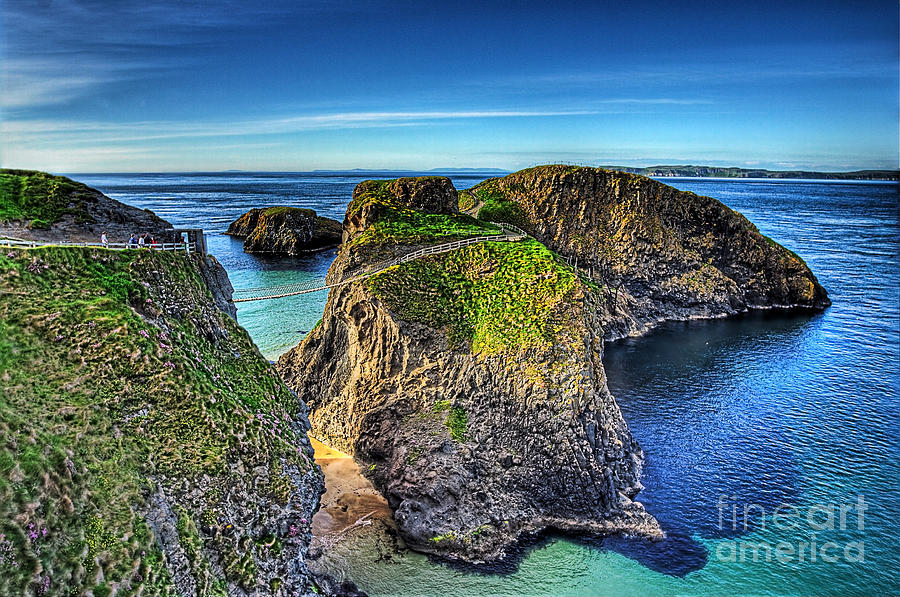 Landscapes Photograph - Carrick-a-rede Rope Bridge by Kim Shatwell-Irishphotographer