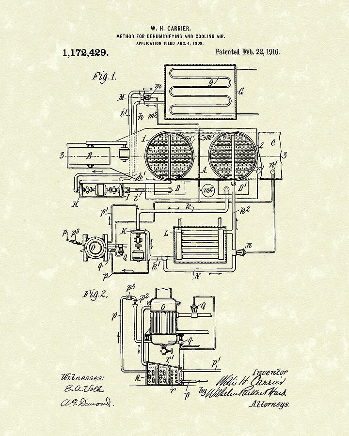 Carrier Air Conditioner 1916 Patent Art by Prior Art Design