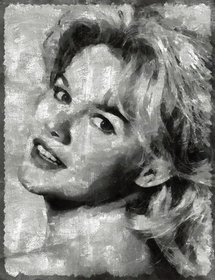 Carroll Painting - Carroll Baker Vintage Hollywood Actress by Mary Bassett