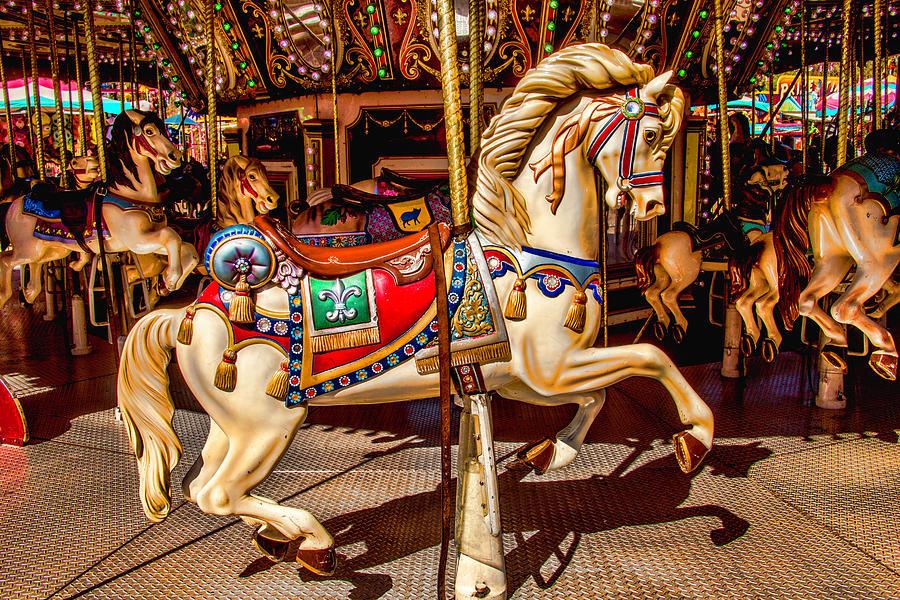 Horse Photograph - Carrousel Horse Ride by Garry Gay