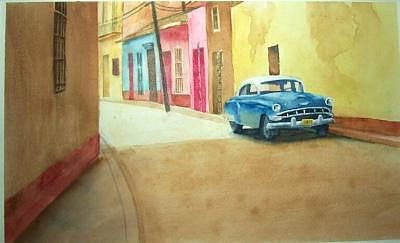 Car Painting - Cars In Cuba-number One by Charles Falk Jr