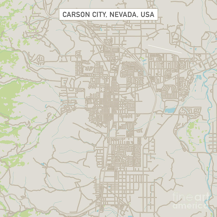 Carson City Nevada Us City Street Map Digital Art by Frank Ramspott