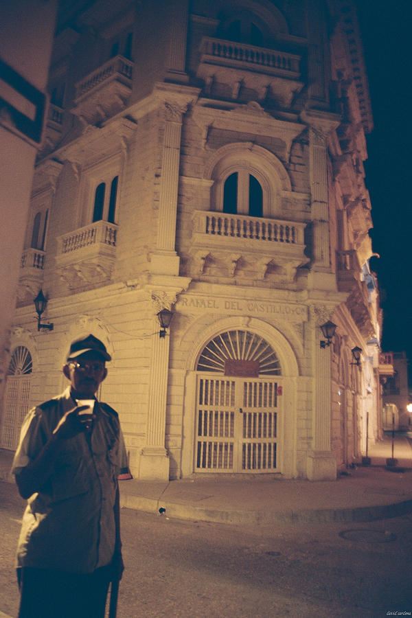 Night Photograph - Cartagena Watchman by David Cardona