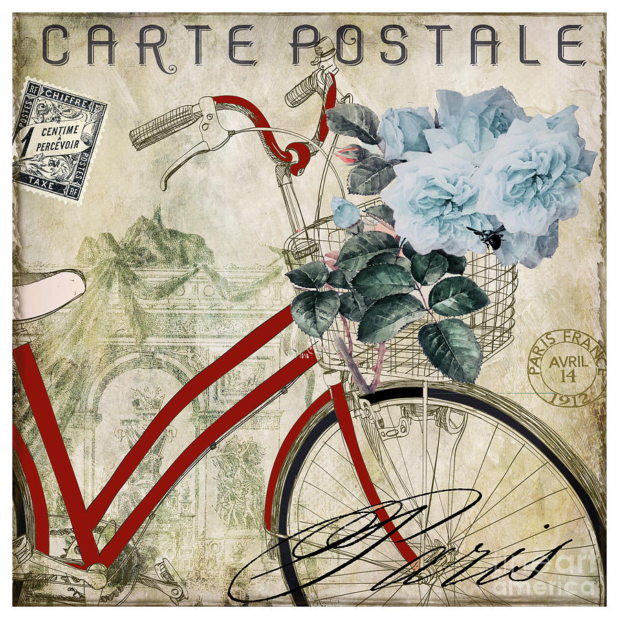 Carte Postale Vintage Bicycle Painting