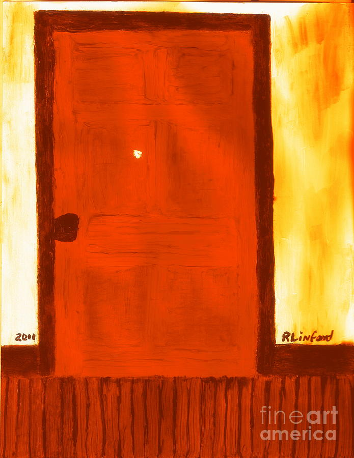Illinois Painting - Carthage Jail Bullet Hole Door 15 Honoring Hyrum Smith Martyr by Richard W Linford