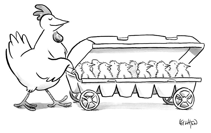 Carton of Chicks Drawing by Robert Leighton