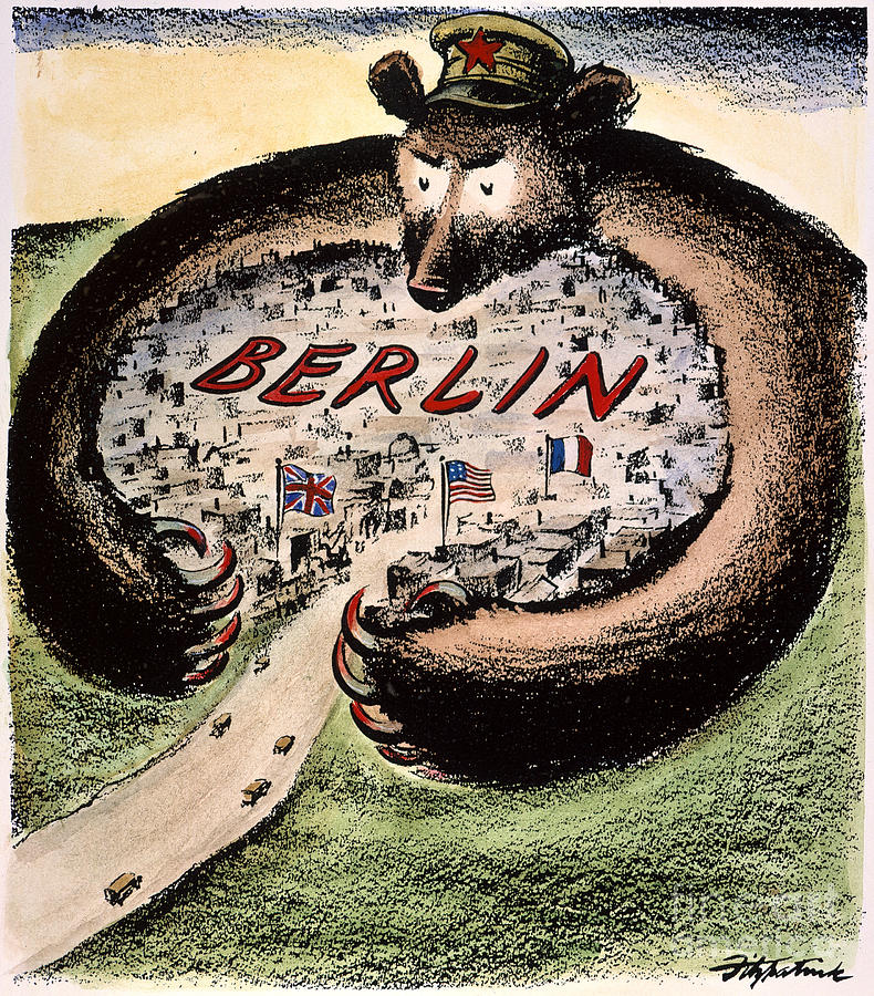 1948 Photograph - Cartoon: Cold War Berlin by Granger