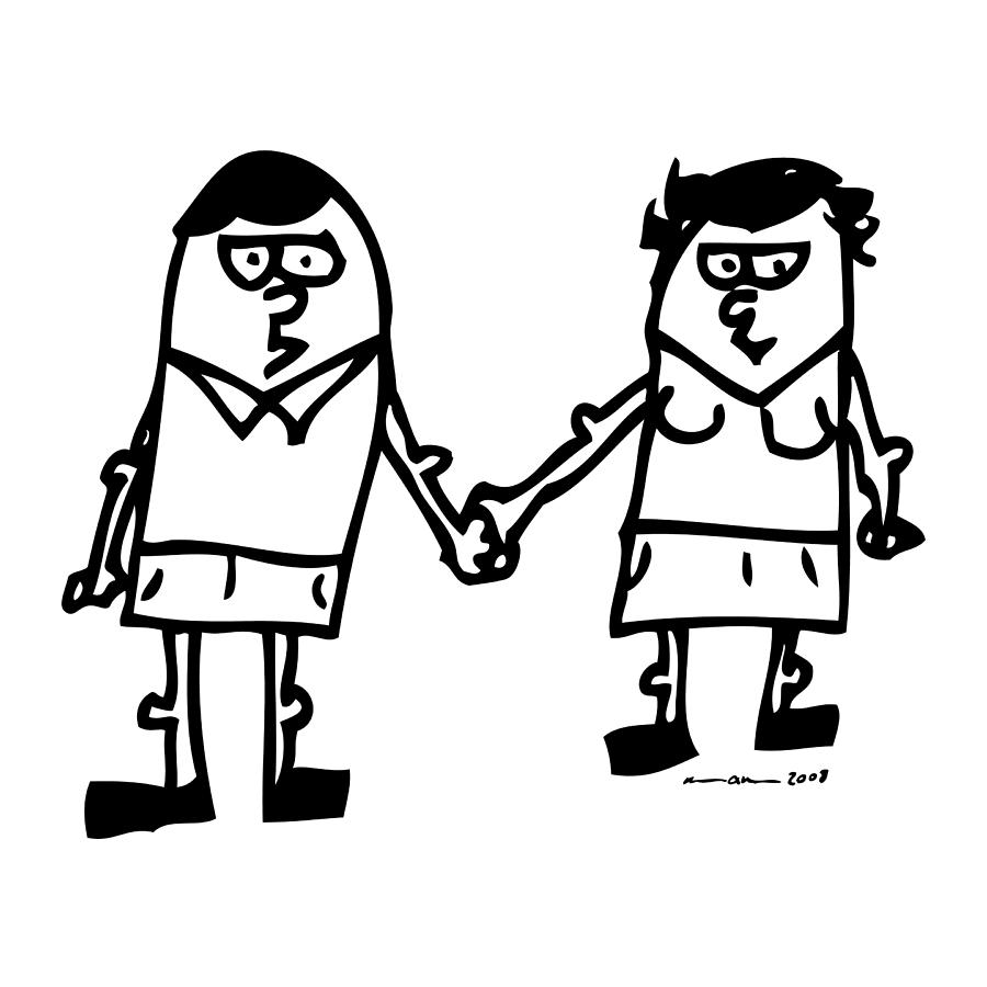 Drawing Drawing - Cartoon Couple by Karl Addison