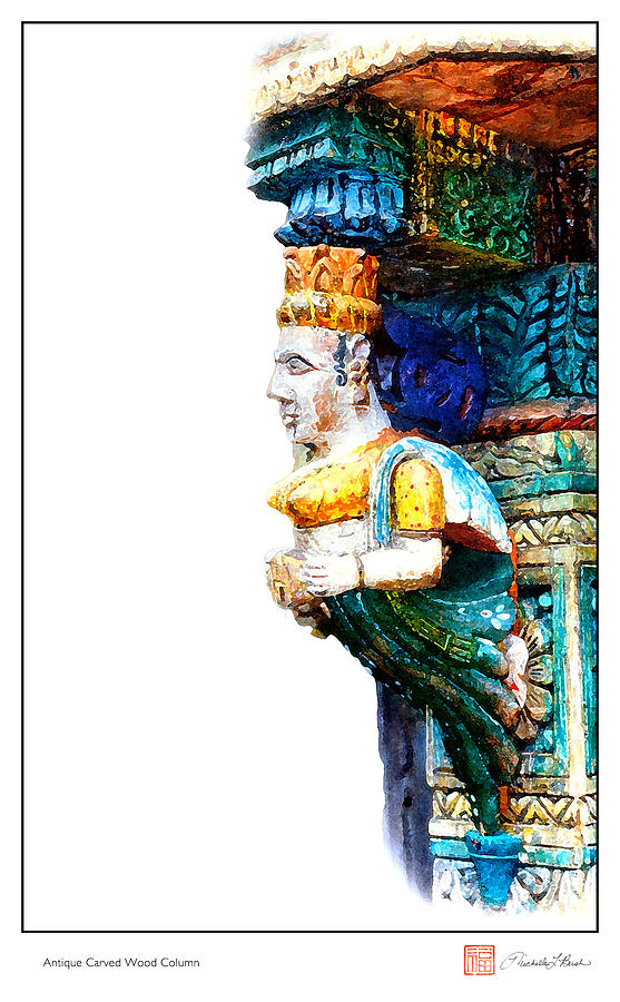 Colorful Digital Art - Carved Wooden Column by Michelle Bush