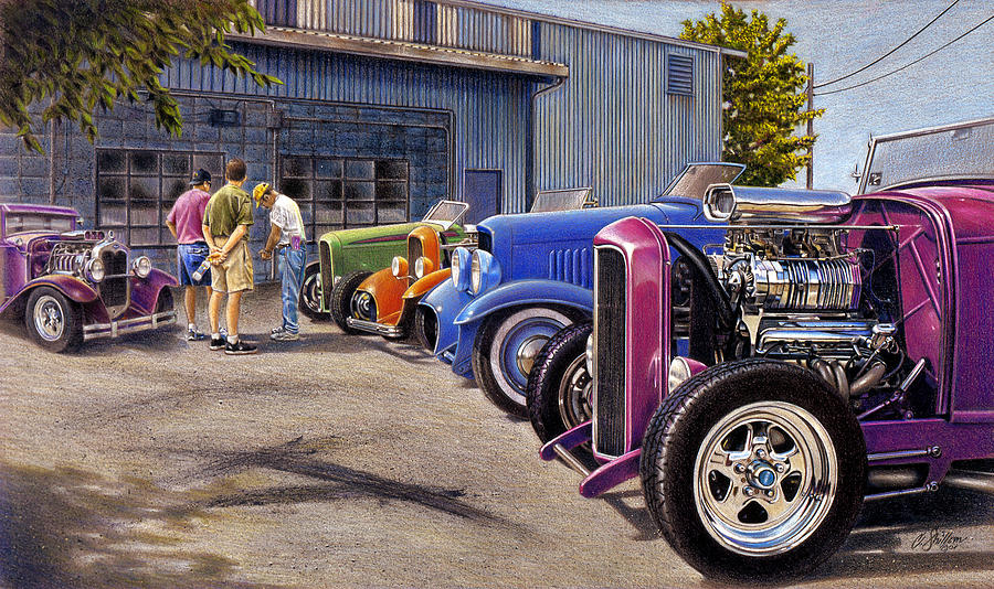 Street Rods Drawing - Carversation by Craig Shillam