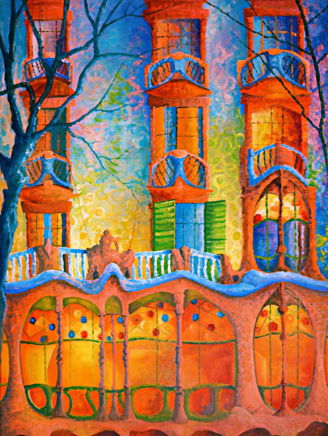 Impressionist Painting - Barcelona Casa Batilo by Ray Gilronan