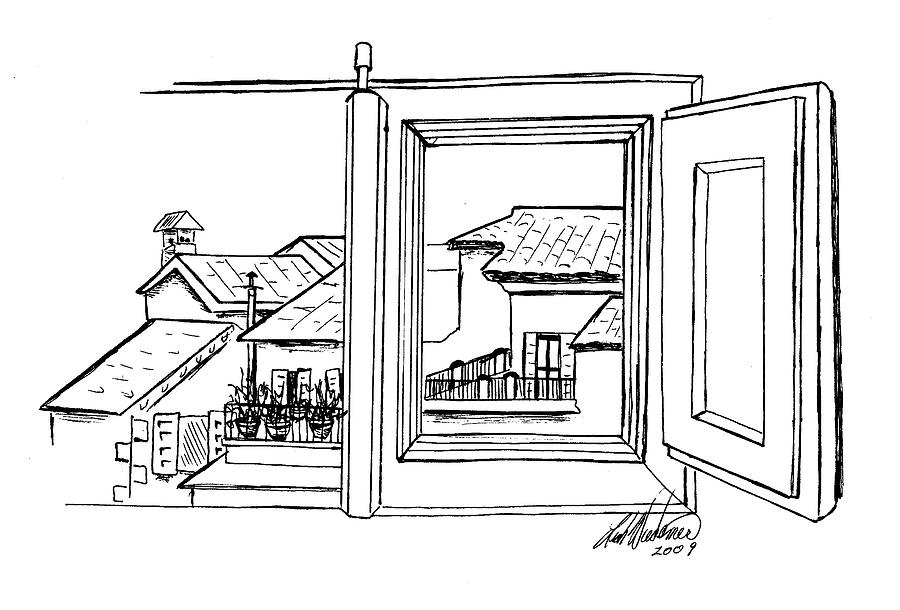 Casa Cordati Window View Drawing By Leah Wiedemer