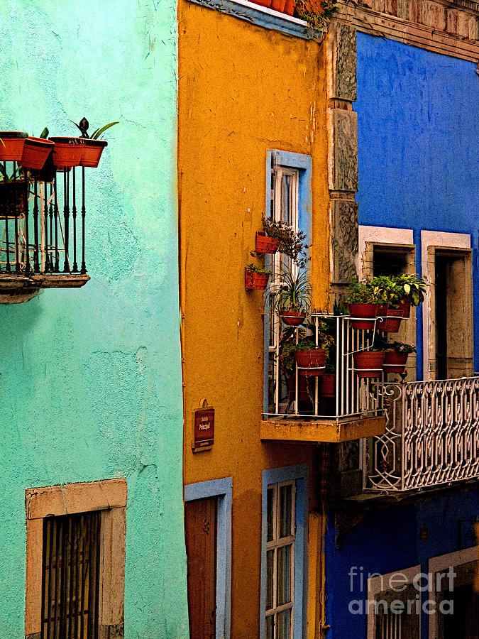 Darian Day Photograph - Casas In Mint Terracotta And Blue by Mexicolors Art Photography