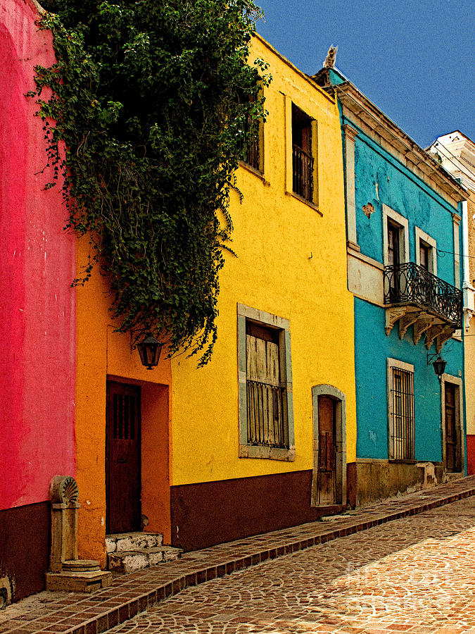 Darian Day Photograph - Casas In Pink Orange Yellow Blue by Mexicolors Art Photography