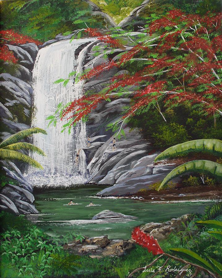 Cascada Painting - Cascada Tropical by Luis F Rodriguez