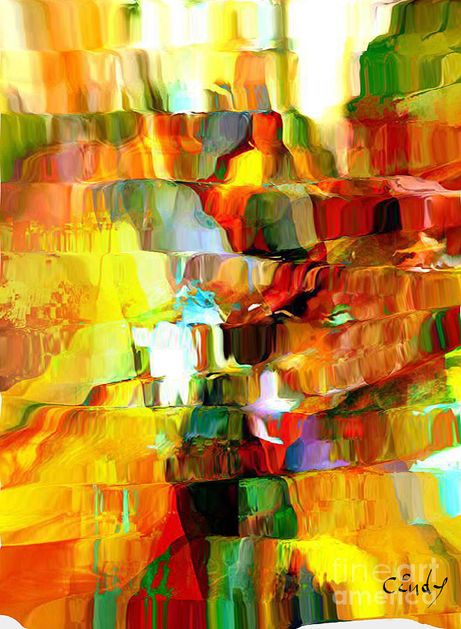 Rouge Digital Art - Cascade De Couleurs by Degouges Cindy