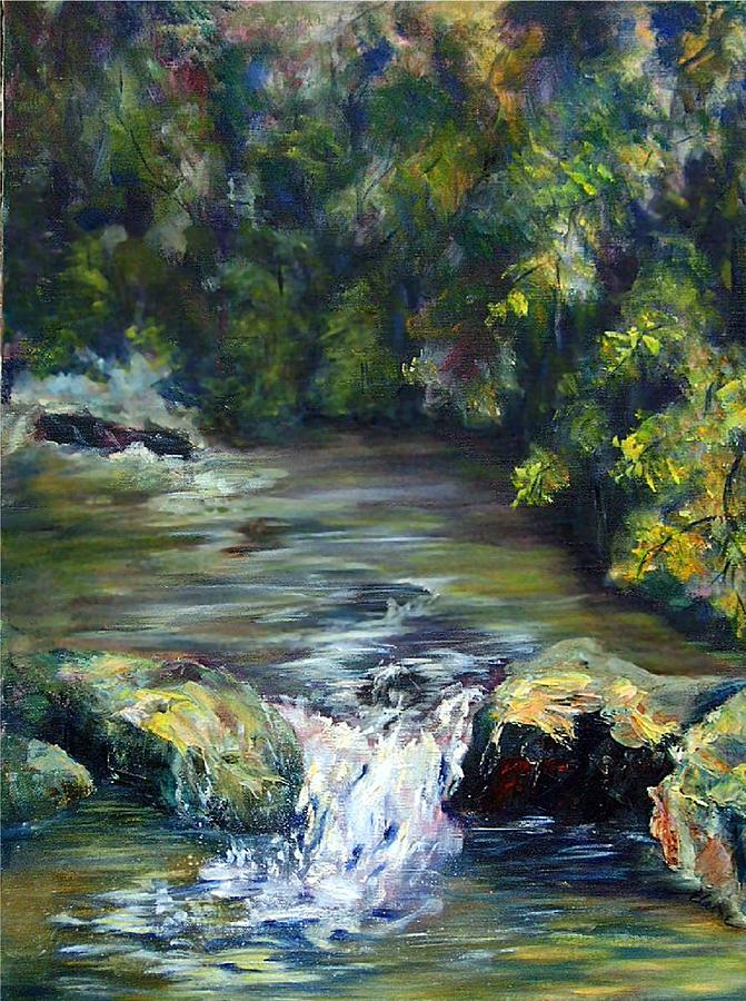 Woods Painting - Cascade In Th Woods by Elaine Bailey
