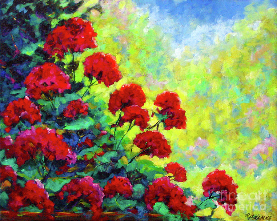 Painting Painting - Cascade Of Geraniums by Richard T Pranke