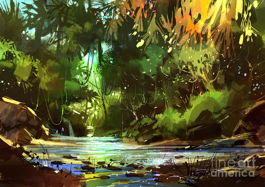 Cascades In Forest Painting