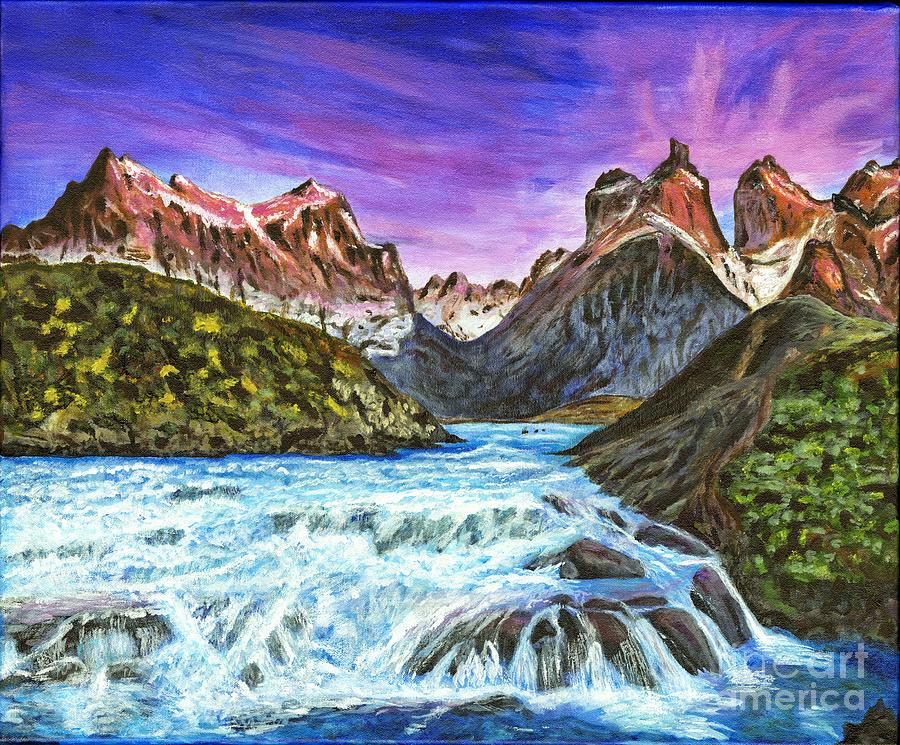 Picturesque Painting - Cascades In Patagonia Painting by Timothy Hacker