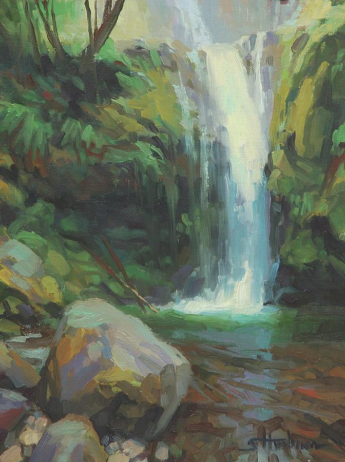 Waterfall Painting - Cascadia by Steve Henderson