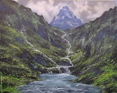 Mountain Painting - Cascading River by Victor Kirton