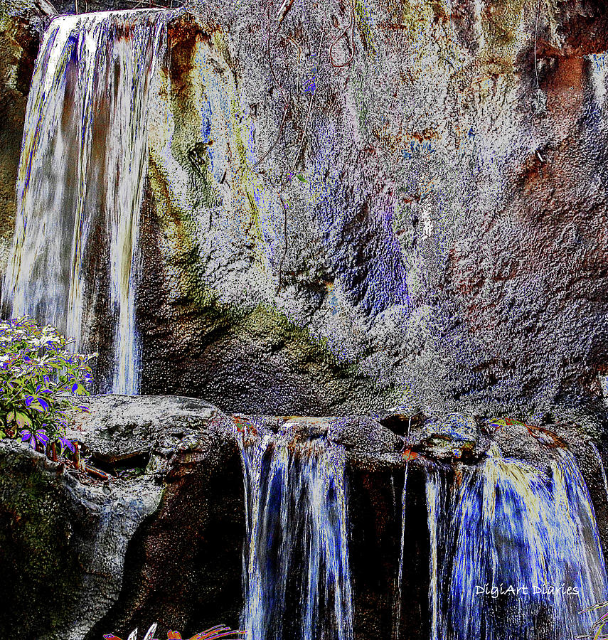 Waterfall Digital Art - Cascading Water Solarized by DigiArt Diaries by Vicky B Fuller