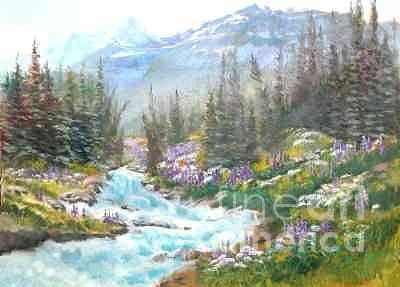 Mountains Painting - Cascading Waters   Banff by Carol Hama Chang