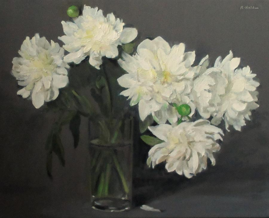 Cascading White Peonies Painting By Robert Holden