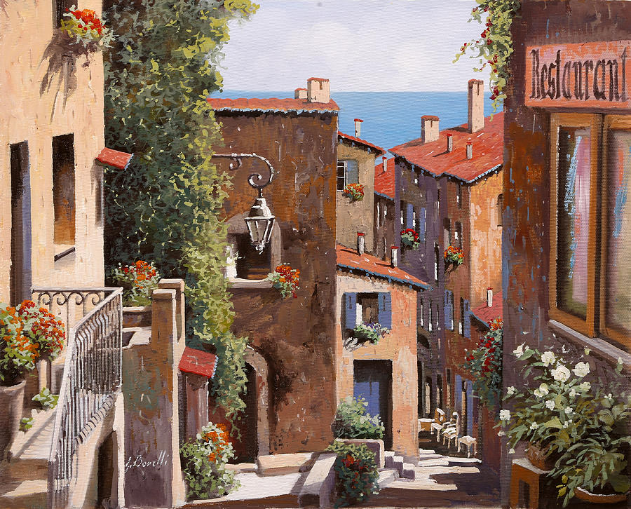 Cagnes Painting - casette a Cagnes by Guido Borelli