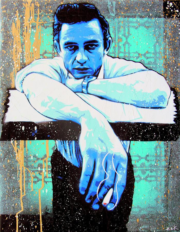 Johnny Cash Painting - Cash - Preacher Man  by Bobby Zeik