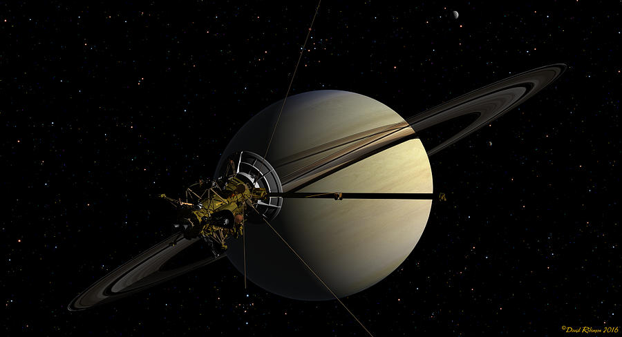 Cassini orbiting Saturn by David Robinson