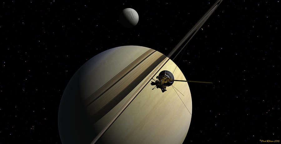 Cassini passing Tethys by David Robinson