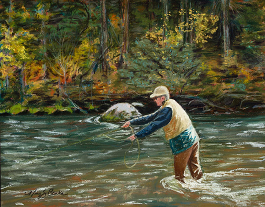 Fly Fishing Painting - Cast Away by Mary Benke