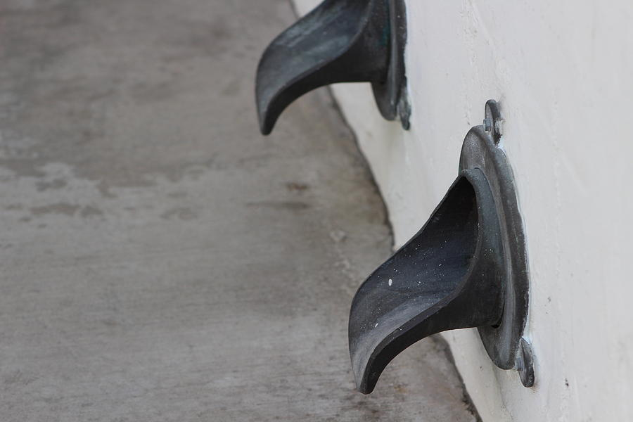 Water Spout Photograph - Cast Iron Rain Spouts In Stucco Building Photograph By Colleen by Colleen Cornelius
