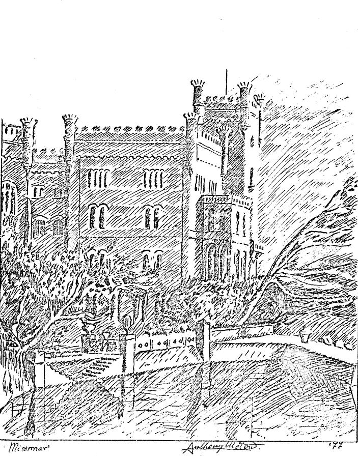 Bianco Drawing - Castello Di Miramare by Anthony Meton