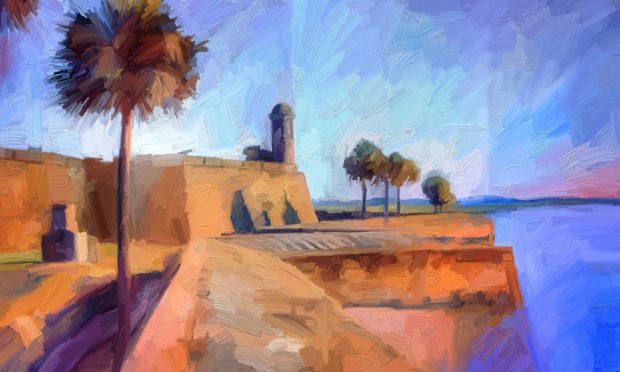 St Augustine Digital Art - Castillo Rampart by Scott Waters