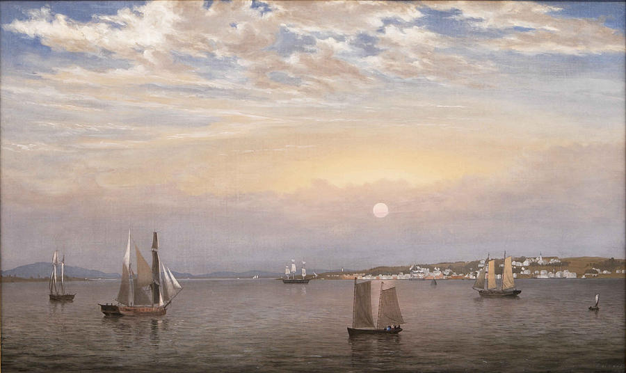 Fitz Henry Lane Painting - Castine Harbor And Town by Fitz Henry Lane