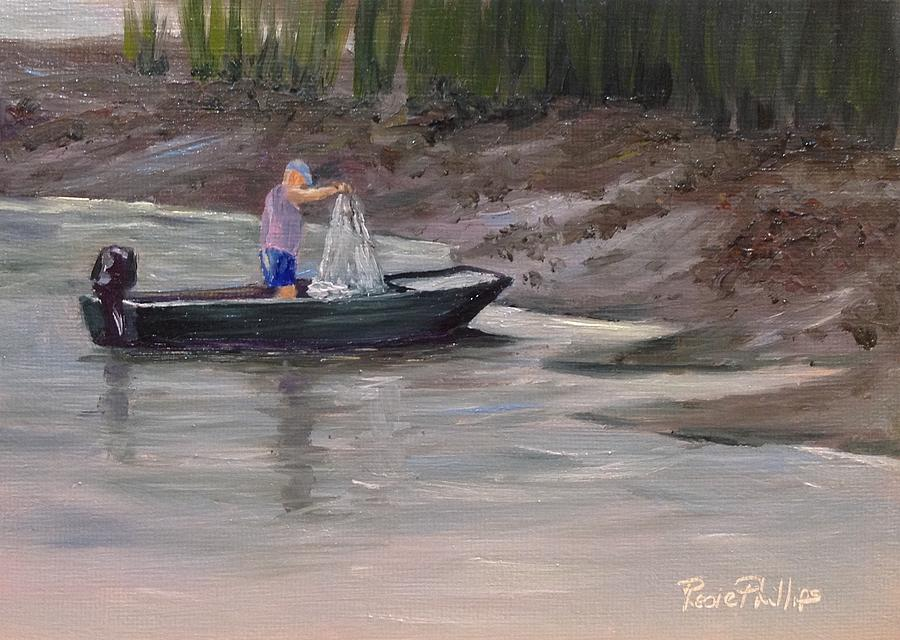 Man Painting - Casting For Bait by Rosie Phillips