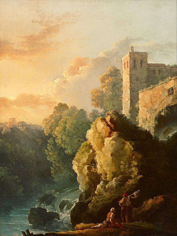 Painting Painting - Castle And Waterfall by Mountain Dreams