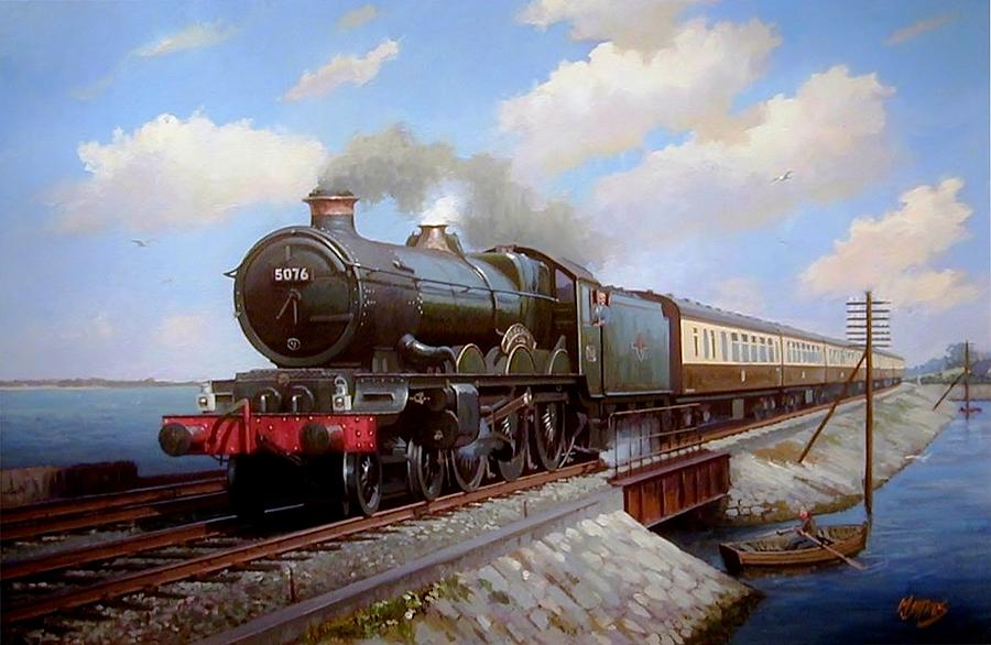 Train Painting - Castle At Starcross by Mike Jeffries
