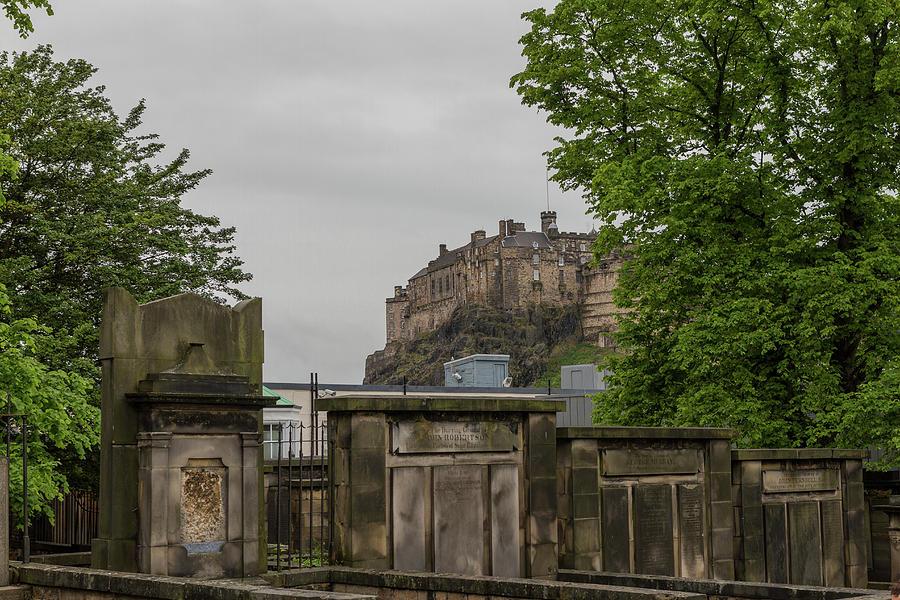 Edinburgh Photograph - Castle Behind Cemetery by Iordanis Pallikaras
